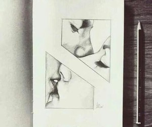 drawing, kiss me, and love image