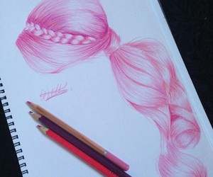 drawing, hair, and pink image