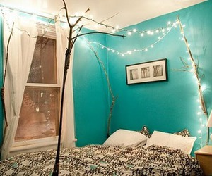bed, decor, and lights image