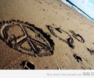 peace, sand, and love image