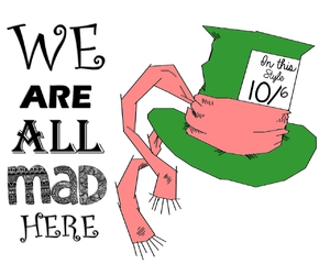 alice in wonderland, draw, and mad hatter image