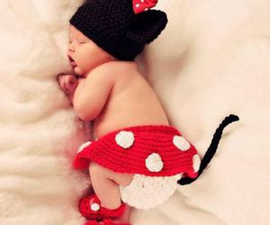 adorable, baby, and minnie mouse image