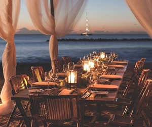 beach, sea, and dinner image