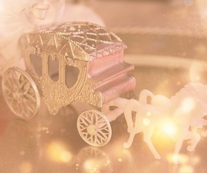horse, pink, and carriage image