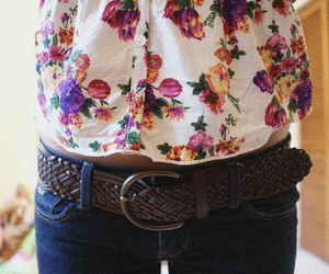 fashion, floral, and belt image