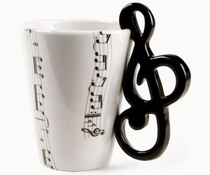 music, cup, and note image