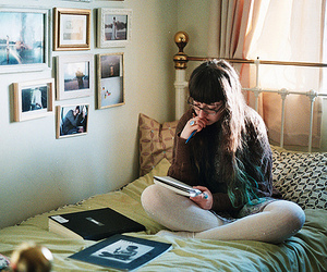 girl, bed, and hipster image
