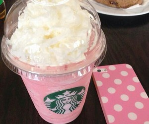 pink, starbucks, and iphone image