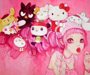 pink, hello kitty, and art image