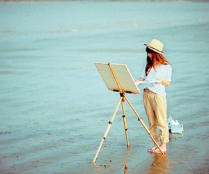 girl, art, and beach image
