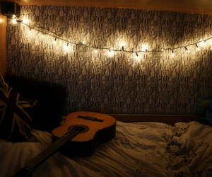 lights, guitar, and room image