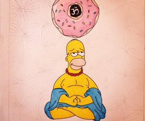 simpsons, homer, and donuts image