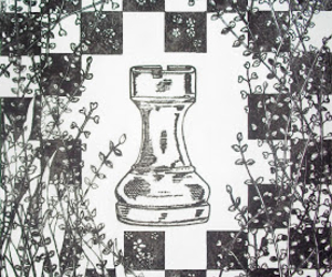 black and white, chess, and leaves image
