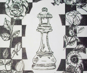 black and white, chess, and flowers image