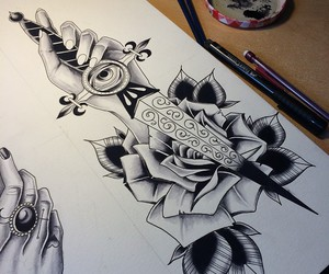 draw, rose, and art image