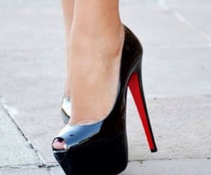 black, heels, and louboutin image