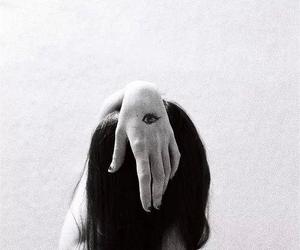 girl, black and white, and eye image