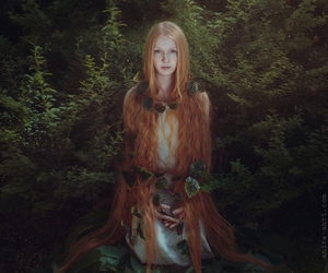 red hair, fantasy, and forest image