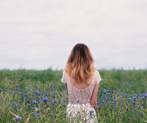 beautiful, flowers, and girl image