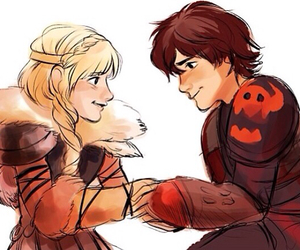 astrid, hiccup, and dragons image