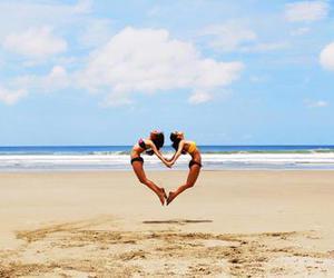 beach, heart, and bikini image