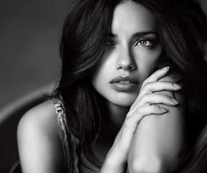 Adriana Lima, model, and black and white image