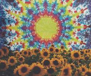 flowers, sunflower, and trippy image