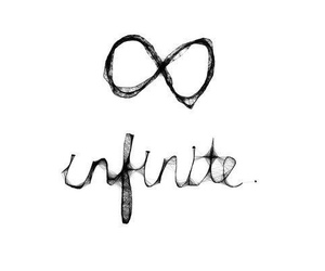infinite, black and white, and text image