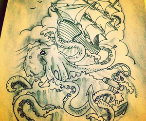 anchor, black white, and drawing image