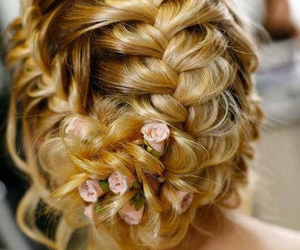 braid, hairstyle, and rose image