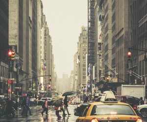 city, new york, and rain image