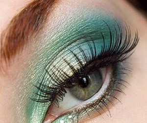 blue, eye makeup, and false lashes image