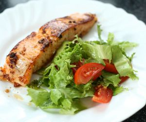 food, lunch, and salmon image
