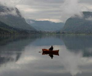 boat and lake image