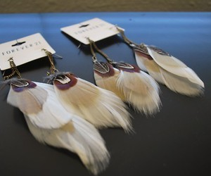 feather, fashion, and earrings image