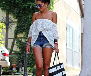 denim shorts, street style, and off the shoulder lace top image