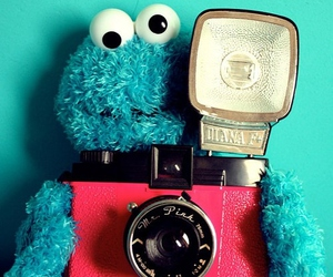 camera, blue, and cookie monster image