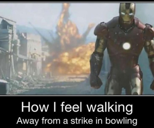 bowling, funny, and iron man image