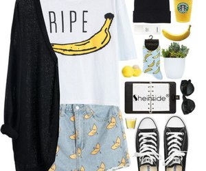 banana, look, and outfit image