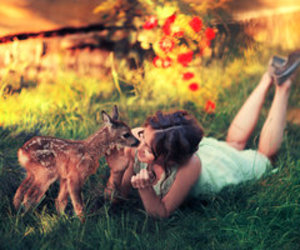 animals, woman, and love image