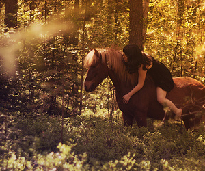 girl, horse, and forest image
