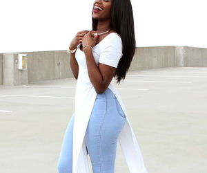 beautiful, casual, and black woman image