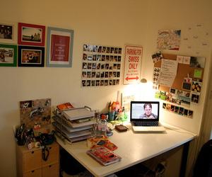 bedroom, polaroids, and dorm image