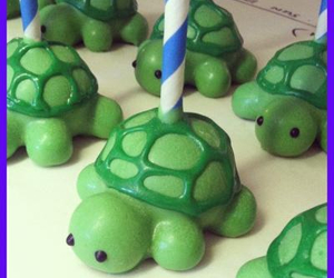 cake pops, green, and turtles image