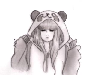drawing, girl, and panda image