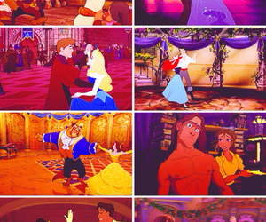 beauty and the beast, seven dwarfs, and snow white image