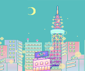 pixel, city, and moon image