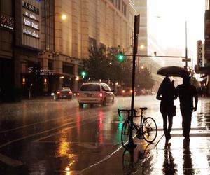 city, love, and rain image