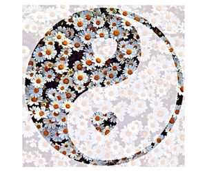 flowers, wallpaper, and yingyang image