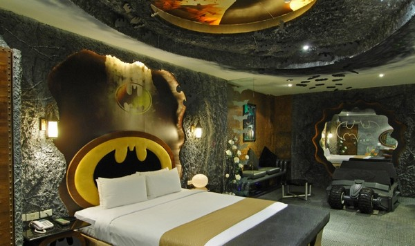 Bedroom Designs Charismatic And Bright Batman Room Decor The Charming Headboard With Yellow Touch And Strong Ceiling Batman Room In Taiwan For Your Inner Superhero Freshome Neohl